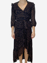 Load image into Gallery viewer, Brown and black print midi wrap dress with asymmetric hem - size M
