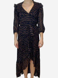 Ba&sh Brown and black print midi wrap dress with asymmetric hem - size M