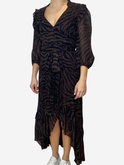 Brown and black print midi wrap dress with asymmetric hem - size M