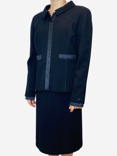 Black skirt suit with satin trim - size UK 14
