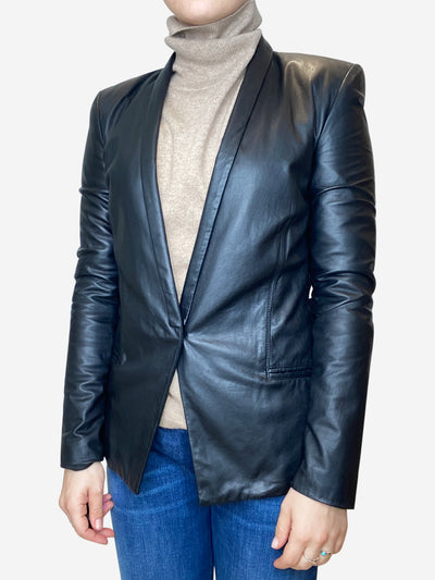 Black single button leather blazer - size IT 42