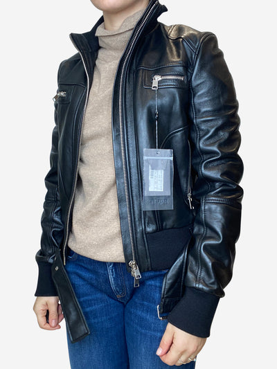 Black leather belted jacket - size Uk IT 42