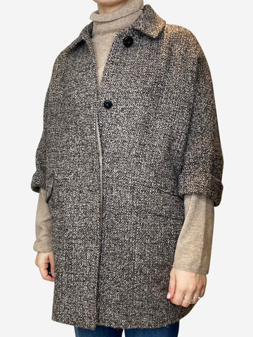 Brown and taupe tweed coat - size S