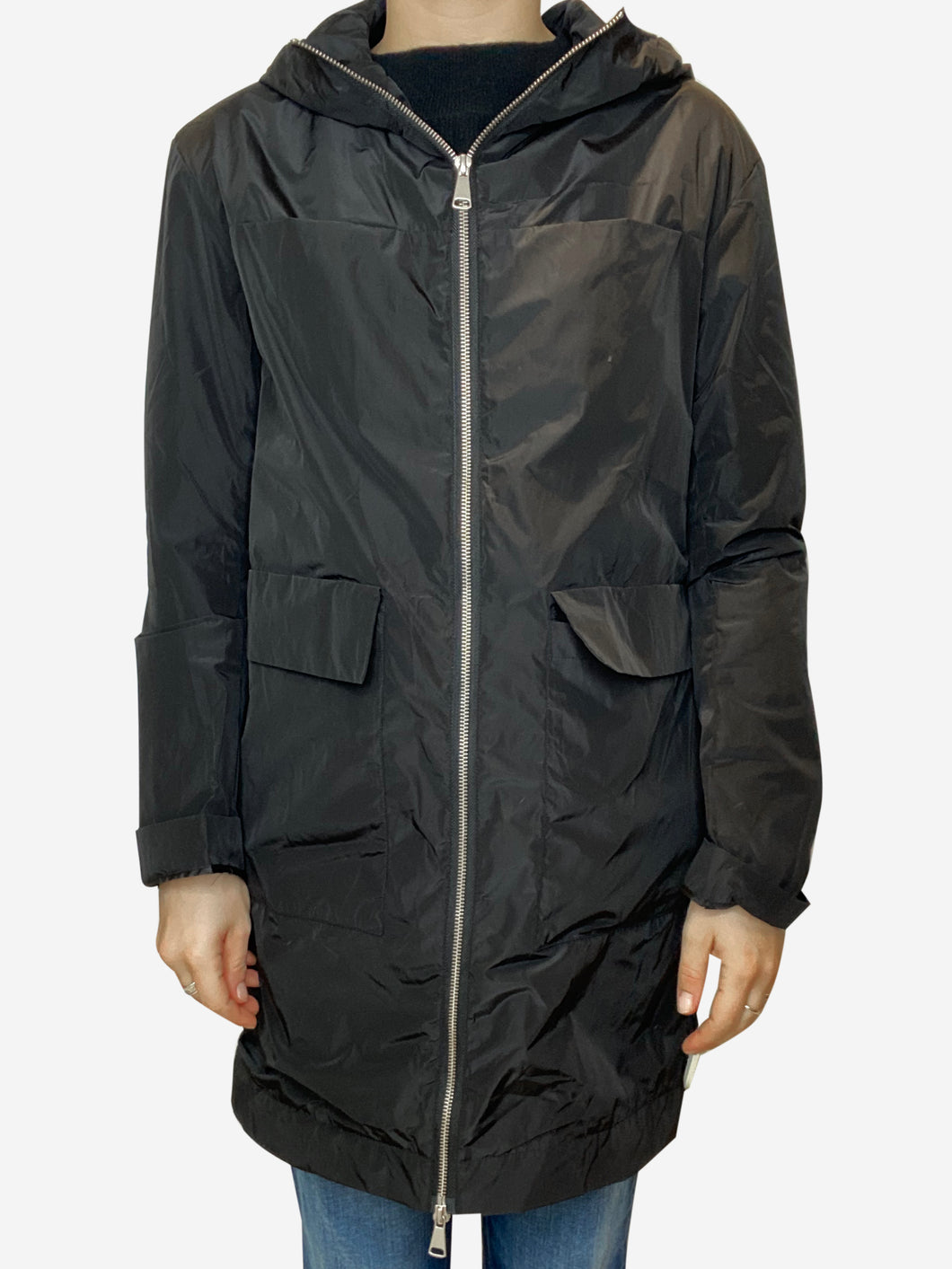 Black lightweight hooded raincoat - size S