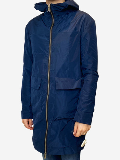 Navy lightweight hooded raincoat - size S