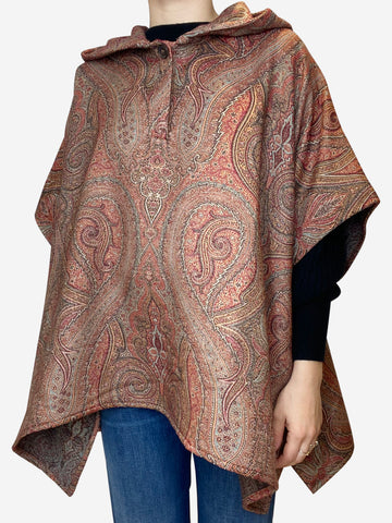Brown paisley poncho - One size