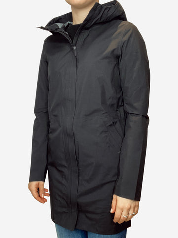 Black hooded raincoat - size UK 8