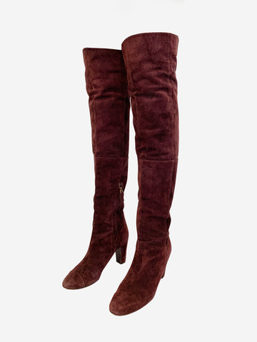 Chanel burgundy over the knee boots - size 8 - RRP £1160 Chanel - Timpanys