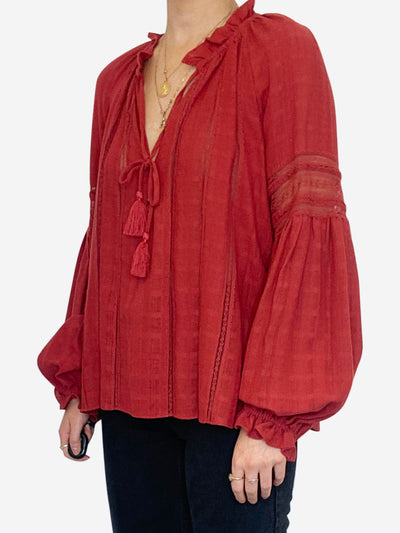 Red long sleeve top with lace detail and tassel tie neck - size FR 38