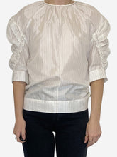 Load image into Gallery viewer, White and blue striped puff sleeve top - size FR 34