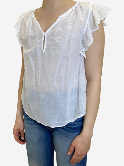 White frill cap sleeve top - size S
