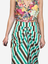 Load image into Gallery viewer, Sleeveless multicolour floral and striped dress - size FR 44