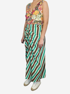 Sleeveless multicolour floral and striped dress - size FR 44
