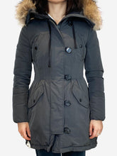 Load image into Gallery viewer, Grey pleated puffer coat with fur hood trim- size 1 (UK 6/8)
