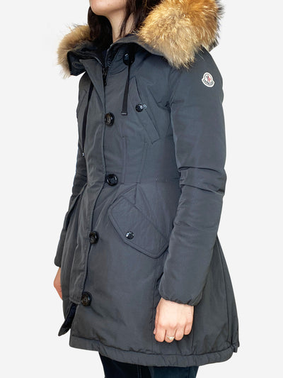 Grey pleated puffer coat with fur hood trim- size 1 (UK 6/8)
