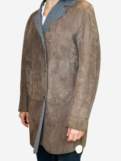 Stone and grey fleece lined suede coat- size UK 10