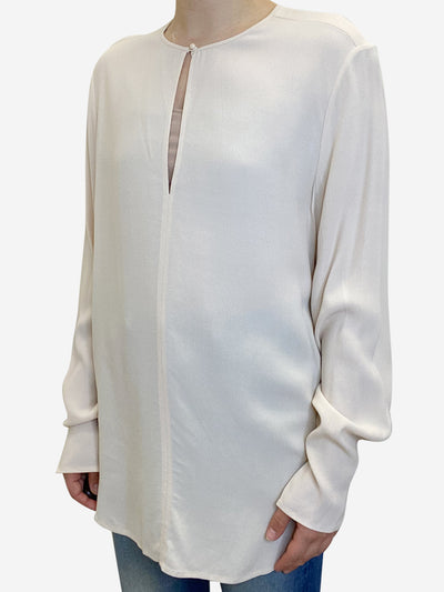 Cream blouse with keyhole neckline - size M