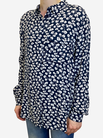 Navy and white print blouse - size UK 10