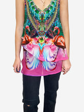 Load image into Gallery viewer, Pink and green sleeveless beaded flamingo print top - size S