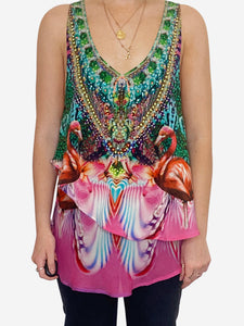 Pink and green sleeveless beaded flamingo print top - size S