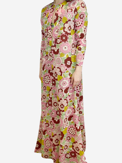 Pink floral maxi dress with keyhole neckline- size UK 12