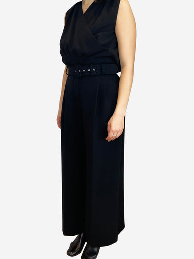 Black sleeveless crossover top and wide leg trousers set- size UK 12