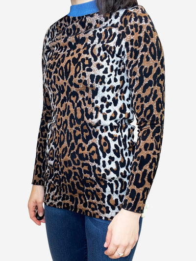 Longline leopard print sweater with blue accent collar- size S