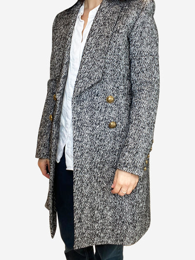 Black and white textured double breasted coat- size UK 6