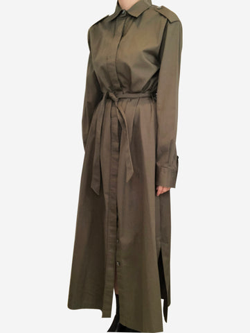 Khaki maxi length shirt dress - size M