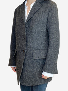 Margaret Howell Grey and brown Harris Tweed blazer jacket- size S