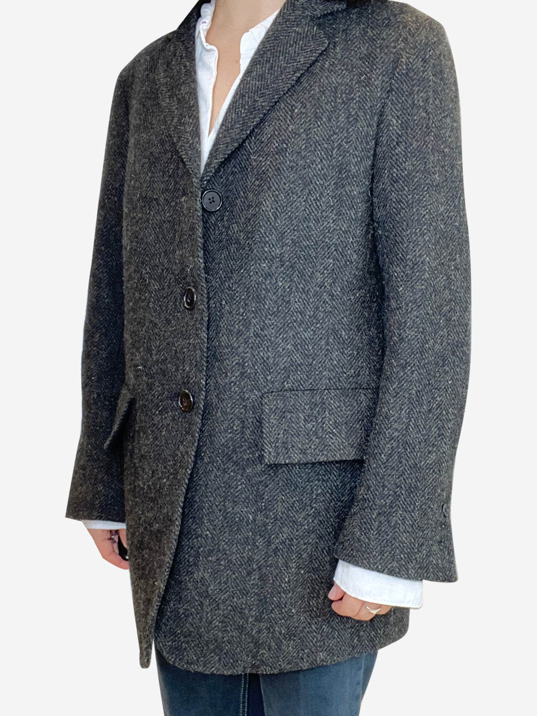 Grey and brown Harris Tweed blazer jacket- size S