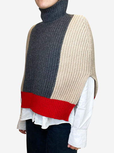 Beige, grey and red knit tabard cape - size IT 38