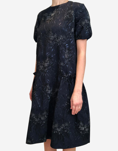 Navy jacquard weave floral dress with pockets - size FR 38