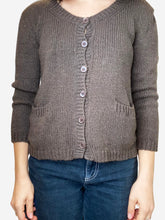 Load image into Gallery viewer, Brown cashmere cardigan with pockets - size S