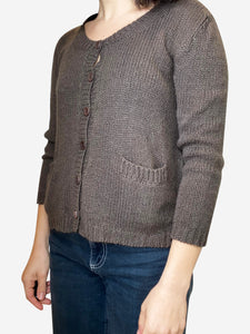 K N Cashmere Brown cashmere cardigan with pockets - size S