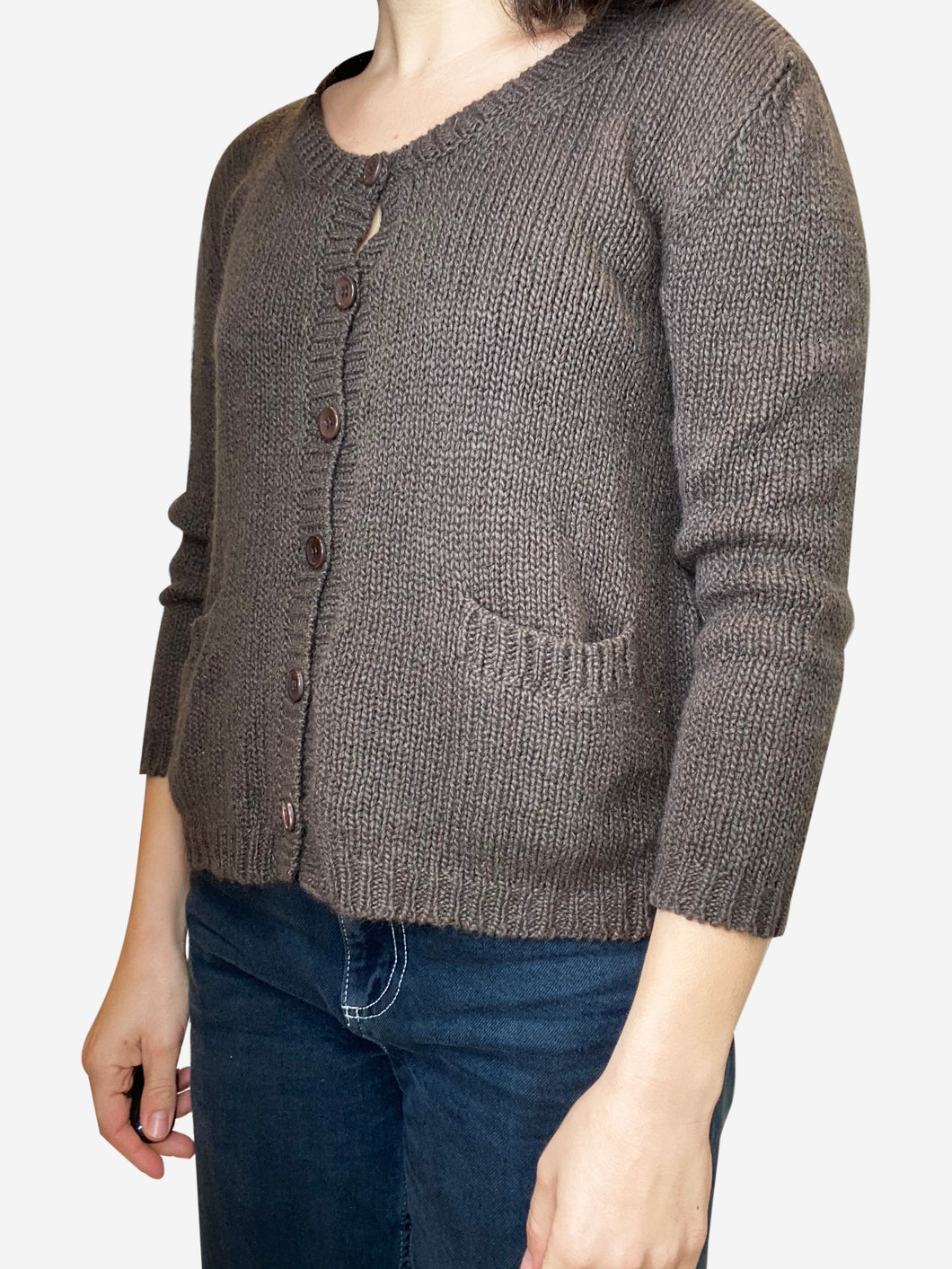 Brown cashmere cardigan with pockets - size S