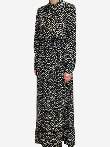Black maxi dress with white polkadots and pussy-bow neck- size M