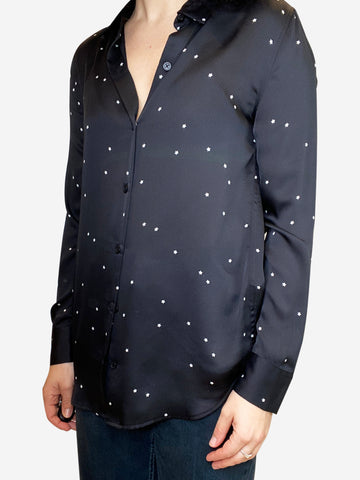 Black silky blosue with white stars- size XS