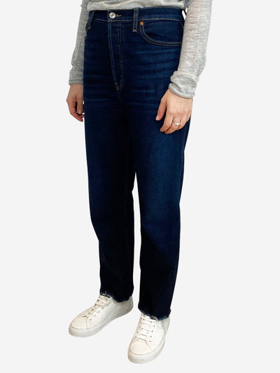 Dark blue jeans with raw hem - waist 30