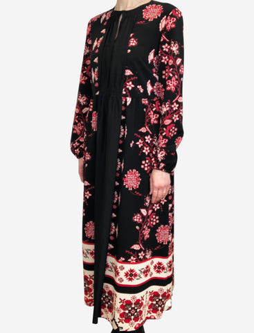 Black long sleeve dress with red geometric floral print- size UK 10