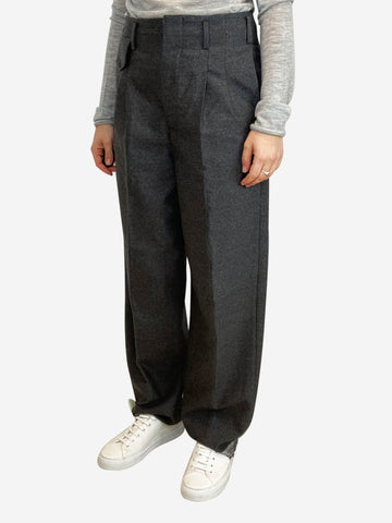 Grey high waisted wool trousers - size S