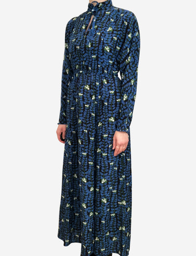 Blue floral long sleeve maxi dress - size FR 36