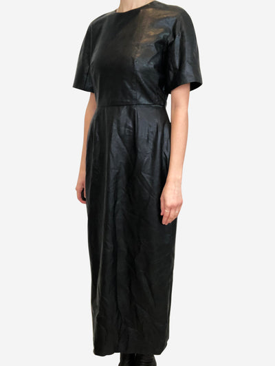 Black faux leather midi dress - size UK 12
