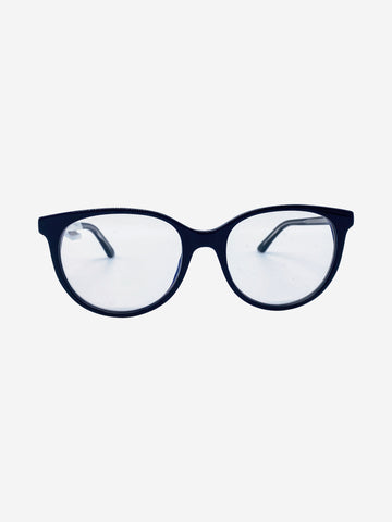 Black and blue reading glasses with clear lens