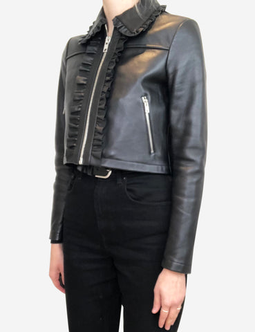 Bollant black cropped ruffle-trimmed leather jacket - size FR 36