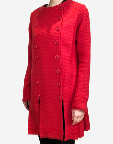 Red double breasted wool coat with distressed edge - size UK 12