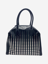 Load image into Gallery viewer, Black laser cut top handle leather bag