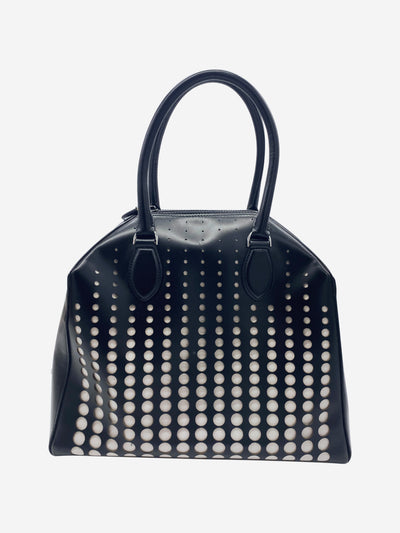 Black laser cut top handle leather bag