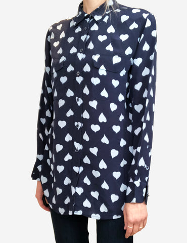 Navy and baby blue heart print shirt - size S