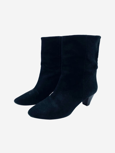 Black wide ankle suede heeled boots - size EU 40